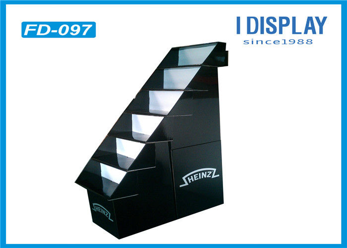 Black Cardboard Custom Display Stands / Retail Pallet Displays 6 Layers