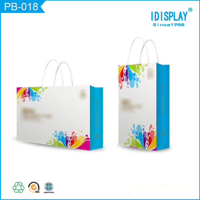Bright Blue Paper Gift Bags , Cardboard Small Paper Favor Bags Packaging For Baby Clothes
